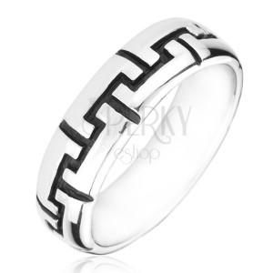 Ezüstgyűrű - gravírozott fekete fogacskák