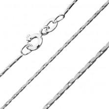 Szögletes ezüst nyaklánc - ovális elemek, 0,8 mm