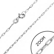 Fényes nyaklánc 925 ezüstből - sima, hosszúkás szemek, 1,6 mm