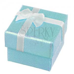 Díszdoboz - gyöngyházfényű kék felület masnival