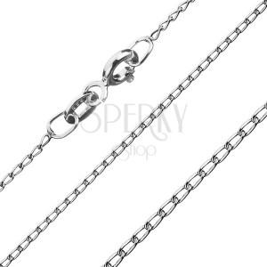 Ezüst nyaklánc - legömbölyített hosszúkás láncszemek, 1 mm