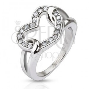 Acélgyűrű - hurkokkal rögzített cirkonköves szív
