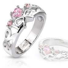 Sebészeti acél gyűrű - kivágott masnik, rózsaszű cirkóniák