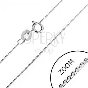 Ezüst nyaklánc - finom vonalú kígyólánc hajlított S elemekből, 0,6 mm