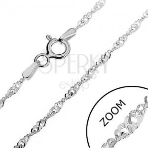 925 ezüst nyaklánc - sűrű lapos láncszemek spirál alakban, 1,8 mm