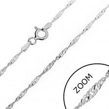 Ezüst nyaklánc - ragyogó spirál lapos szemekből, 1,3 mm
