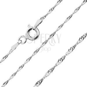 925 ezüst nyaklánc - fényes ovális szemek spirálban, 1,1 mm