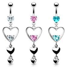 Köldök piercing - két cirkónia, három szív medál
