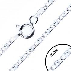Ezüst nyaklánc - hajlított, S alakban összekapcsolt szemek, 2,1 mm