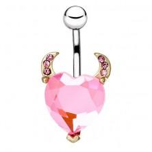Piercing a köldökbe acélból - színes szívecske szarvakkal