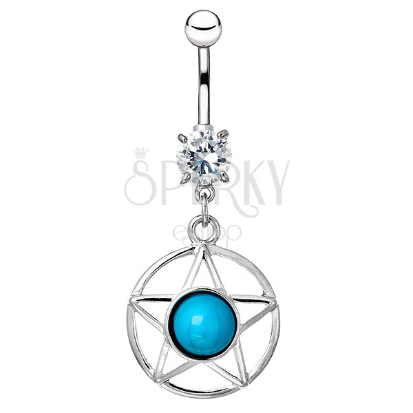 Köldökékszer acélból - körbe zárt csillag kék kővel