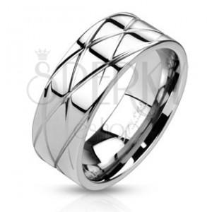 Fényes acélgyűrű - ferde bevágások
