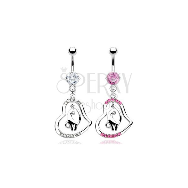 Belly ring piercing - cirkónia köves szív és macska medál