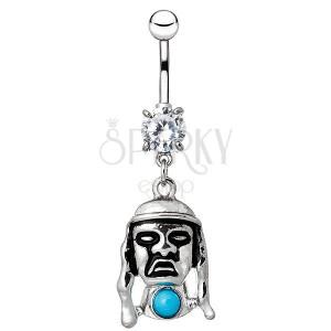 Köldök piercing acélból - indián arc kék kővel