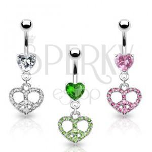 Köldök ékszer - szív alakú béke szimbólum