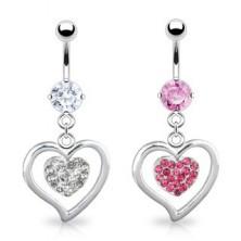 Piercing - fényes acél szív keret, cirkónia köves medállal