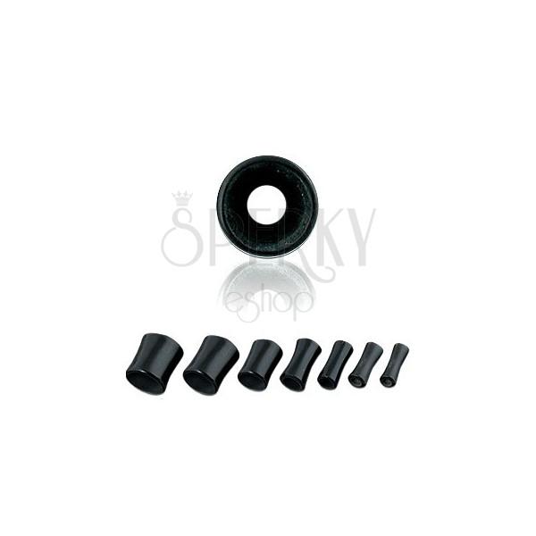 Fekete fültágító alagút - nyereg forma, UV akril