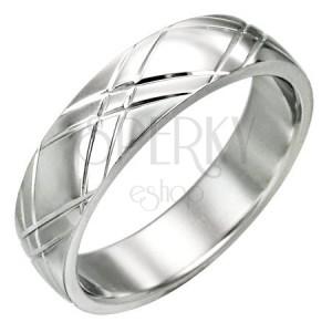 Acél gyűrű - fényes felület, bemart átlós vonalak X alakban