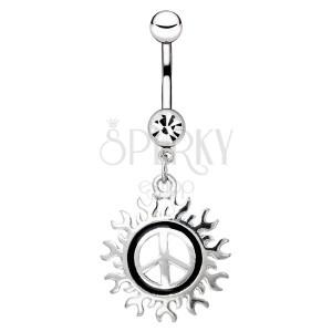 Acél köldökpiercing - békeszimbólum sugaras motívummal