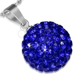 Nemesacél medál - kék cirkonkövekkel díszített golyócska