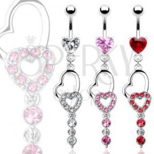 Köldök piercing - két szív és két függő cirkónia