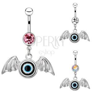 Sebészeti acél köldökpiercing - szárnyas szem, cirkónia