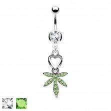 Köldök piercing - szív és cirkónia köves marihuána levél