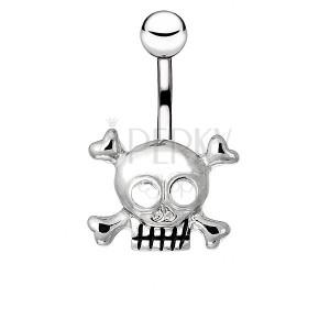 Piercing a köldökbe sebészeti acélból - koponya és keresztbe tett csontok