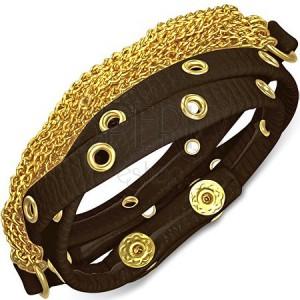 Barna bőrkarkötő szegecsekkel és arany színű láncokkal