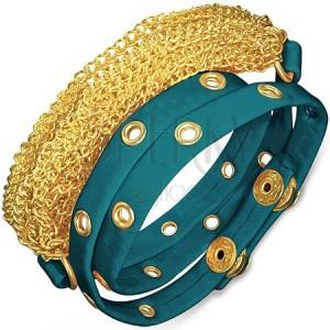 Karkötő bőrből - szegecsekkel kivert kék szalag arany színű láncokkal