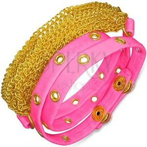 Rózsaszínű bőrkarkötő - keskeny szalag szegecsekkel, arany színű láncok