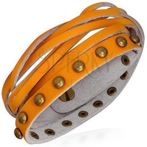 Karkötő bőrből - narancsszínű szalagok, aranyszínű szegecsek, fonat