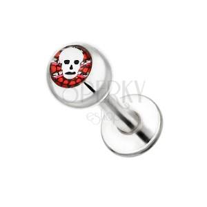 Áll piercing acélból - koponya piros háttérrel