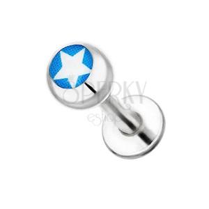 Sebészeti acél labret - fehér csillag és kék háttér
