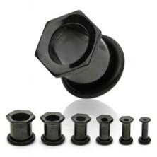 Fekete titánium fültágító, aloxált, hatszög alakú