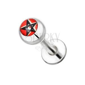 Áll és ajak piercing acélból - fekete pentagram piros alapon