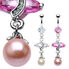 Ékes luxus piercing - ovális cirkónia és egy fényes gyöngy