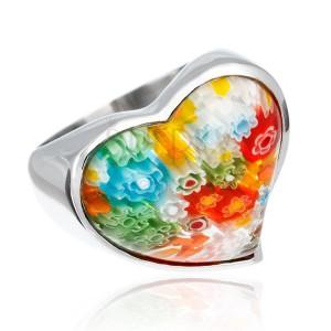 Masszív acélgyűrű - szívecske színes virágos üvegbetéttel