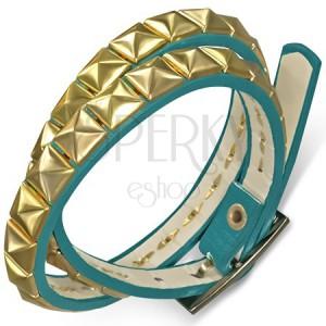 Kettős műbőr karkötő - kék sáv arany színű piramisokkal