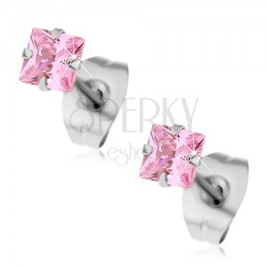 Acél fülbevaló - rózsaszínű négyzet alakú kő, bedugós