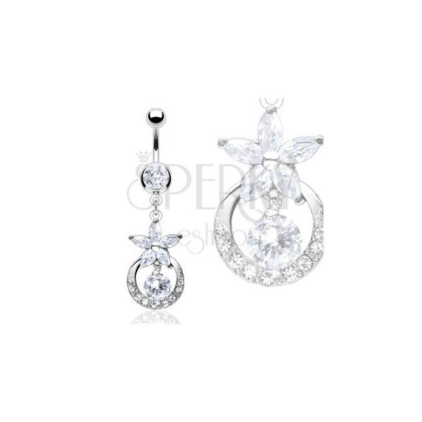Luxus köldök piercing - cirkónia virág és karika