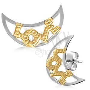 Kétszínű acél fülbevaló - félhold forma LOVE felirattal
