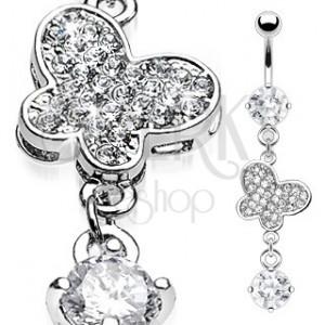 Luxus köldök piercing - cirkonköves pillangó