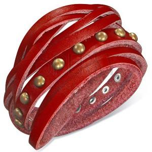 Bőr karkötő - szegecsekkel kivert piros szíj