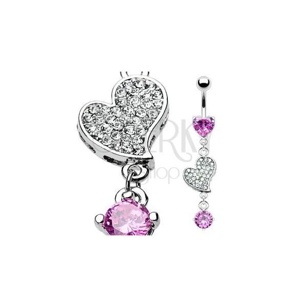 Köldökpiercing luxus kivitelezéssel - cirkonköves szív