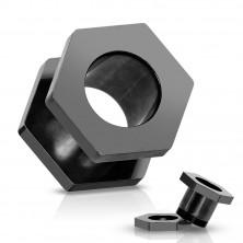 Fekete titánium fültágító, aloxált, csavarzáras