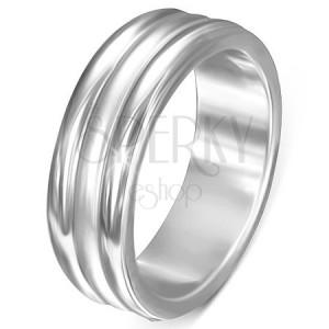Acélgyűrű - fényes szegélyek, középső matt sáv