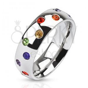 Acél gyűrű - ezüst színű karika, színes kövek