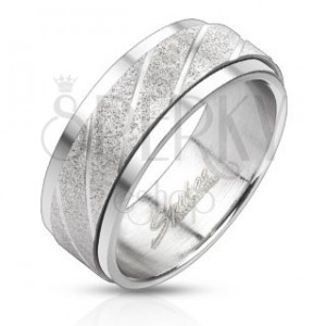 Gyűrű acélból - szemcsés sáv átlós bemélyedésekkel