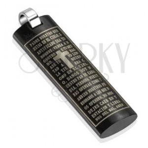 Medál acélból - lapított fekete henger imaszöveggel